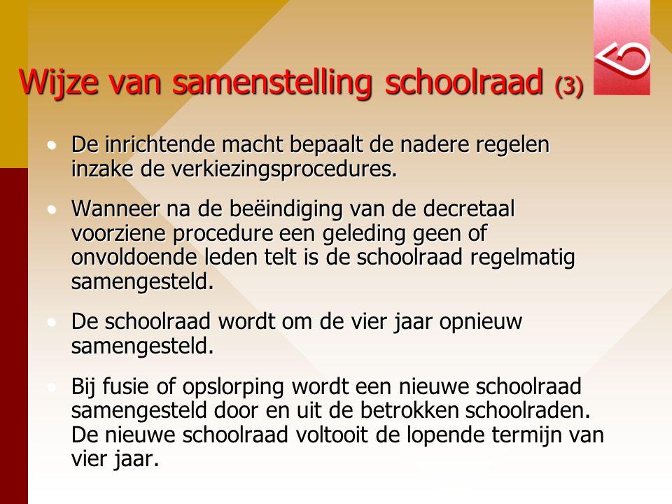 Wijze van samenstelling schoolraad (3) De inrichtende macht bepaalt de nadere regelen inzake de verkiezingsprocedures.De inrichtende macht bepaalt de nadere regelen inzake de verkiezingsprocedures.