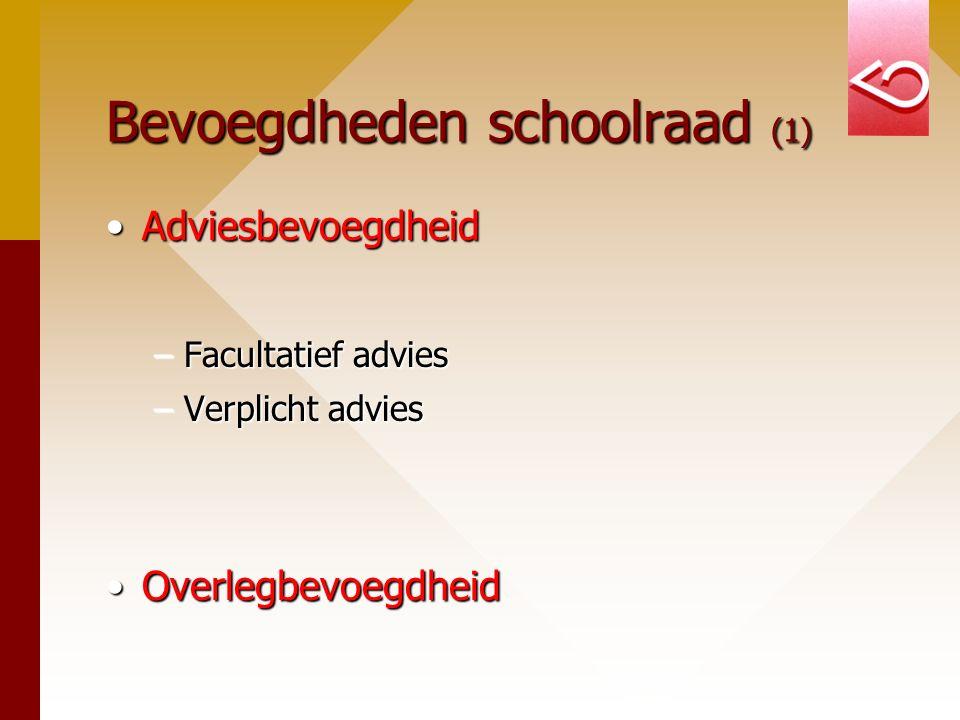 Bevoegdheden schoolraad (1) AdviesbevoegdheidAdviesbevoegdheid –Facultatief advies –Verplicht advies OverlegbevoegdheidOverlegbevoegdheid