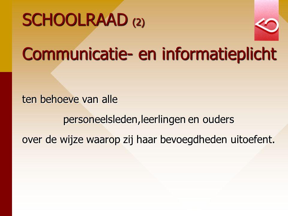 SCHOOLRAAD (2) Communicatie- en informatieplicht ten behoeve van alle personeelsleden,leerlingen en ouders over de wijze waarop zij haar bevoegdheden uitoefent.