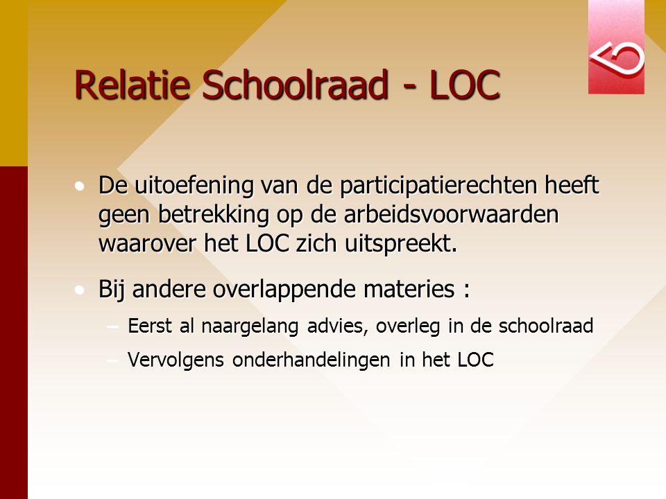Relatie Schoolraad - LOC De uitoefening van de participatierechten heeft geen betrekking op de arbeidsvoorwaarden waarover het LOC zich uitspreekt.De uitoefening van de participatierechten heeft geen betrekking op de arbeidsvoorwaarden waarover het LOC zich uitspreekt.