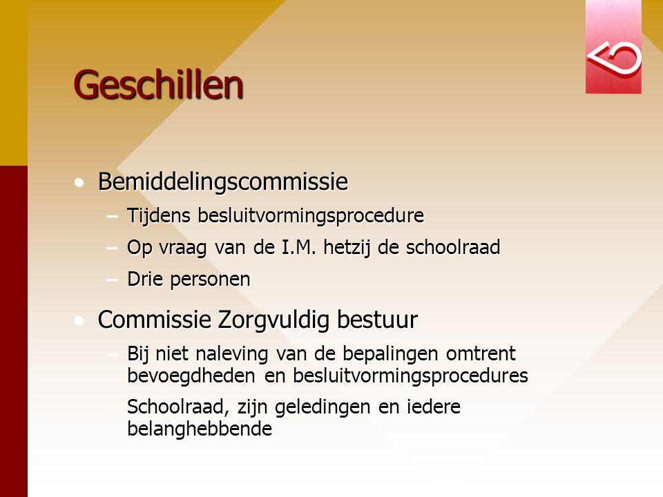 Geschillen BemiddelingscommissieBemiddelingscommissie –Tijdens besluitvormingsprocedure –Op vraag van de I.M. hetzij de schoolraad –Drie personen Comm