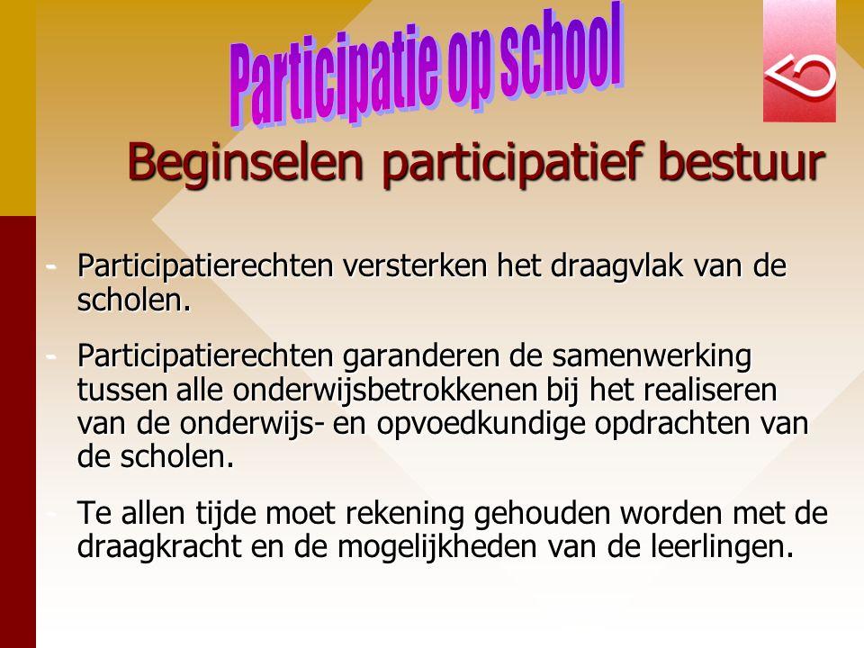 Beginselen participatief bestuur -Participatierechten versterken het draagvlak van de scholen. -Participatierechten garanderen de samenwerking tussen