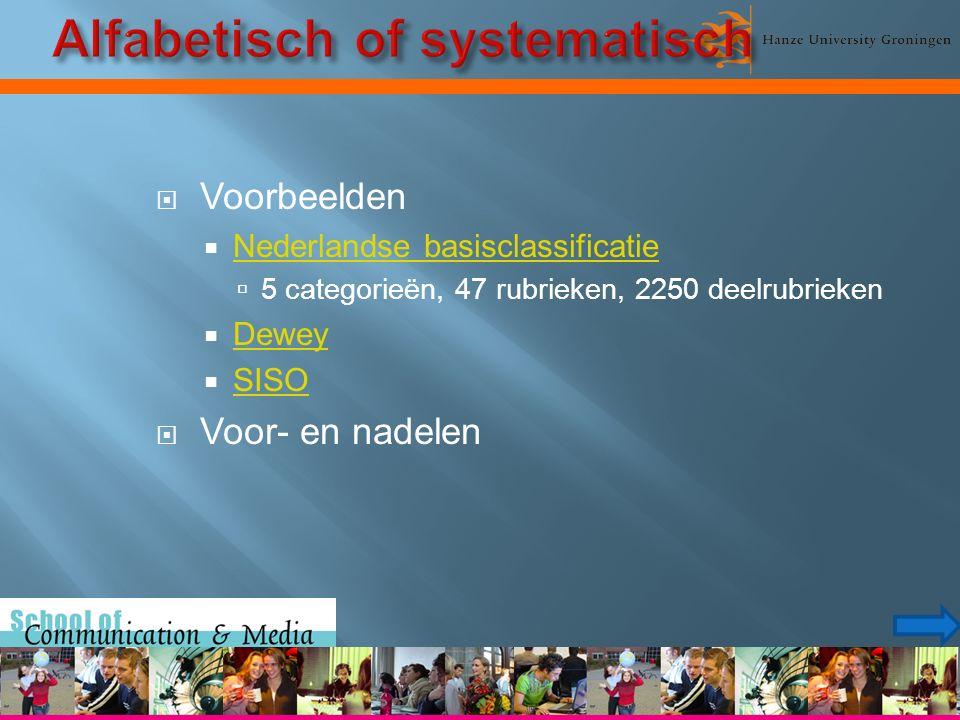 Voorbeelden  Nederlandse basisclassificatie Nederlandse basisclassificatie  5 categorieën, 47 rubrieken, 2250 deelrubrieken  Dewey Dewey  SISO SISO  Voor- en nadelen