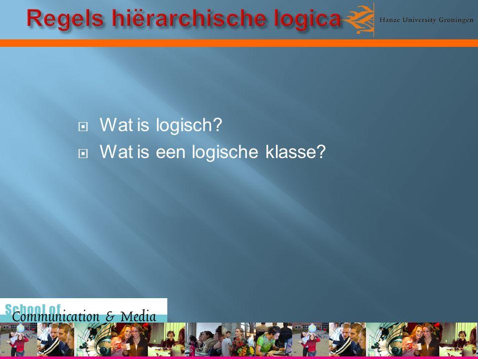  Wat is logisch?  Wat is een logische klasse?