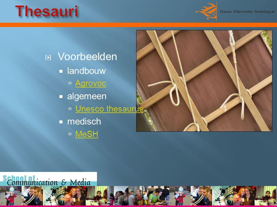  Voorbeelden  landbouw  Agrovoc Agrovoc  algemeen  Unesco thesaurus Unesco thesaurus  medisch  MeSH MeSH
