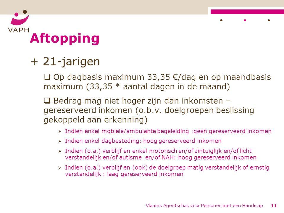 Aftopping + 21-jarigen  Op dagbasis maximum 33,35 €/dag en op maandbasis maximum (33,35 * aantal dagen in de maand)  Bedrag mag niet hoger zijn dan inkomsten – gereserveerd inkomen (o.b.v.