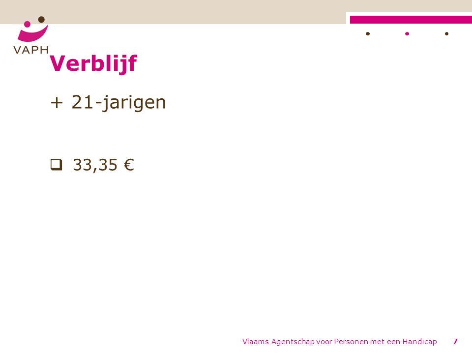 Verblijf + 21-jarigen  33,35 € Vlaams Agentschap voor Personen met een Handicap7