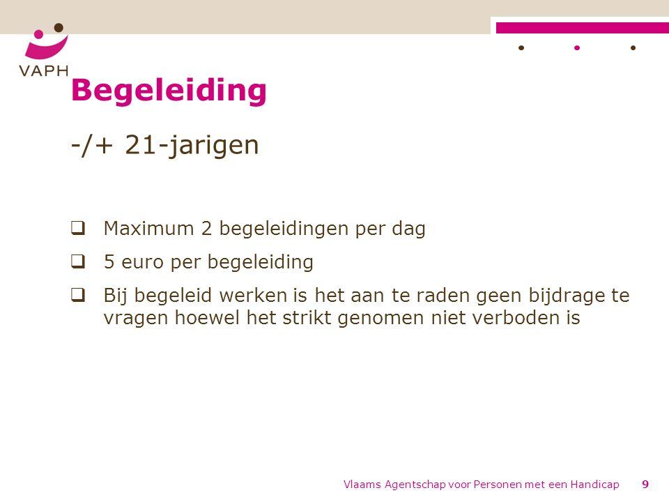 Begeleiding -/+ 21-jarigen  Maximum 2 begeleidingen per dag  5 euro per begeleiding  Bij begeleid werken is het aan te raden geen bijdrage te vragen hoewel het strikt genomen niet verboden is Vlaams Agentschap voor Personen met een Handicap9