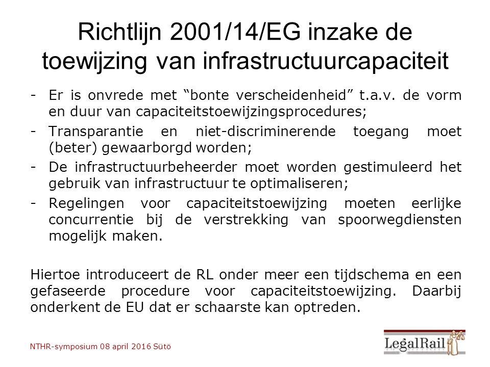 """Richtlijn 2001/14/EG inzake de toewijzing van infrastructuurcapaciteit -Er is onvrede met """"bonte verscheidenheid"""" t.a.v. de vorm en duur van capacitei"""