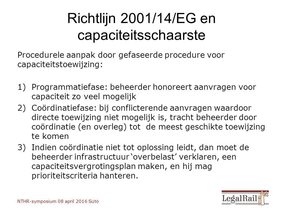 Richtlijn 2001/14/EG en capaciteitsschaarste Procedurele aanpak door gefaseerde procedure voor capaciteitstoewijzing: 1)Programmatiefase: beheerder ho