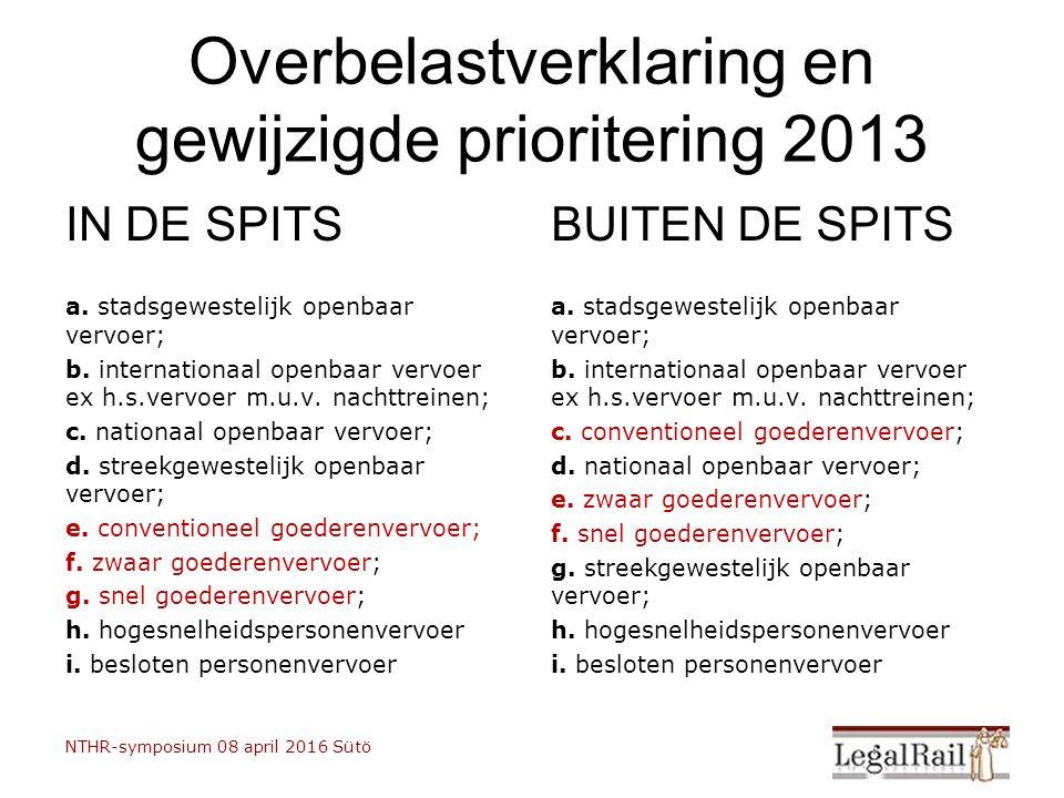 Overbelastverklaring en gewijzigde prioritering 2013 IN DE SPITS a. stadsgewestelijk openbaar vervoer; b. internationaal openbaar vervoer ex h.s.vervo