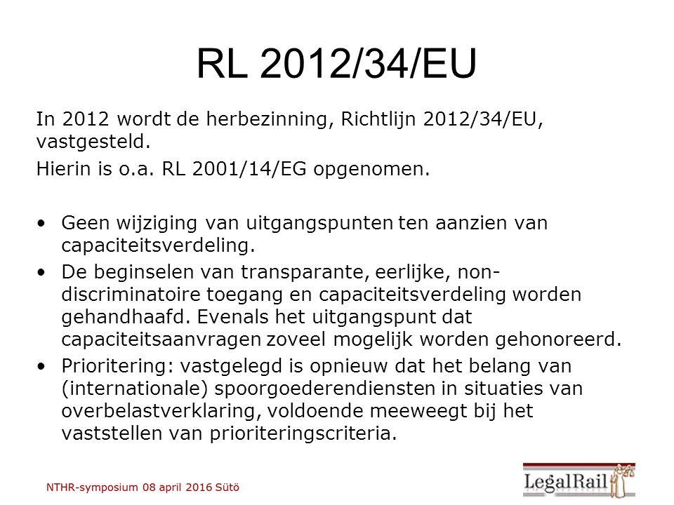 RL 2012/34/EU In 2012 wordt de herbezinning, Richtlijn 2012/34/EU, vastgesteld. Hierin is o.a. RL 2001/14/EG opgenomen. Geen wijziging van uitgangspun