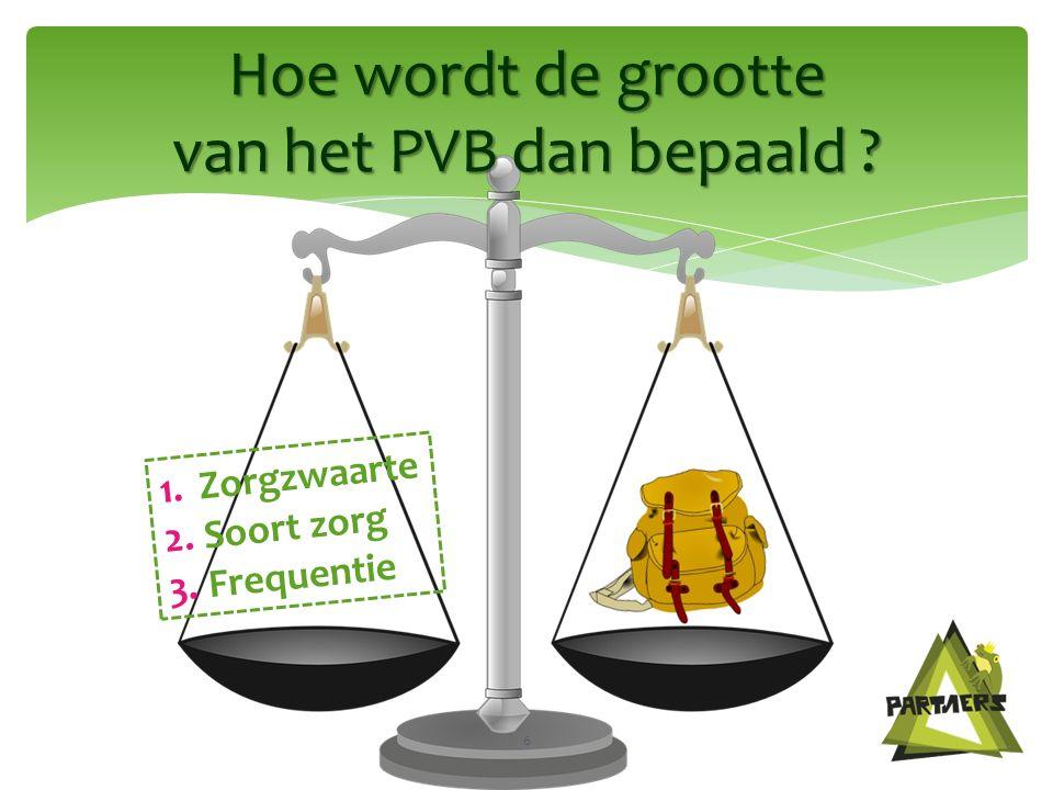 Hoe wordt de grootte van het PVB dan bepaald 6 1.Zorgzwaarte 2.Soort zorg 3.Frequentie