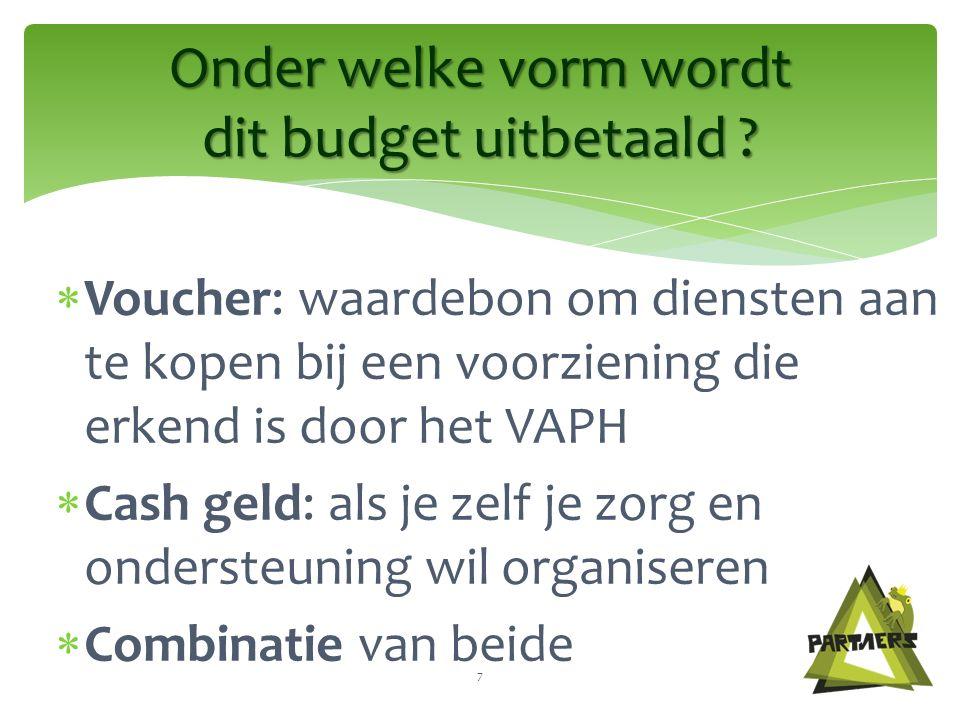  Voucher: waardebon om diensten aan te kopen bij een voorziening die erkend is door het VAPH  Cash geld: als je zelf je zorg en ondersteuning wil organiseren  Combinatie van beide Onder welke vorm wordt dit budget uitbetaald .