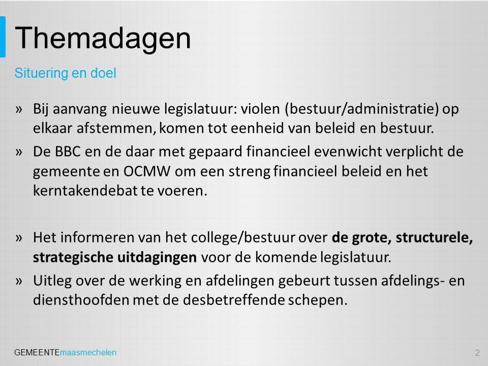 GEMEENTEmaasmechelen Welzijn Uitdaging: Lopende projecten i.f.v.