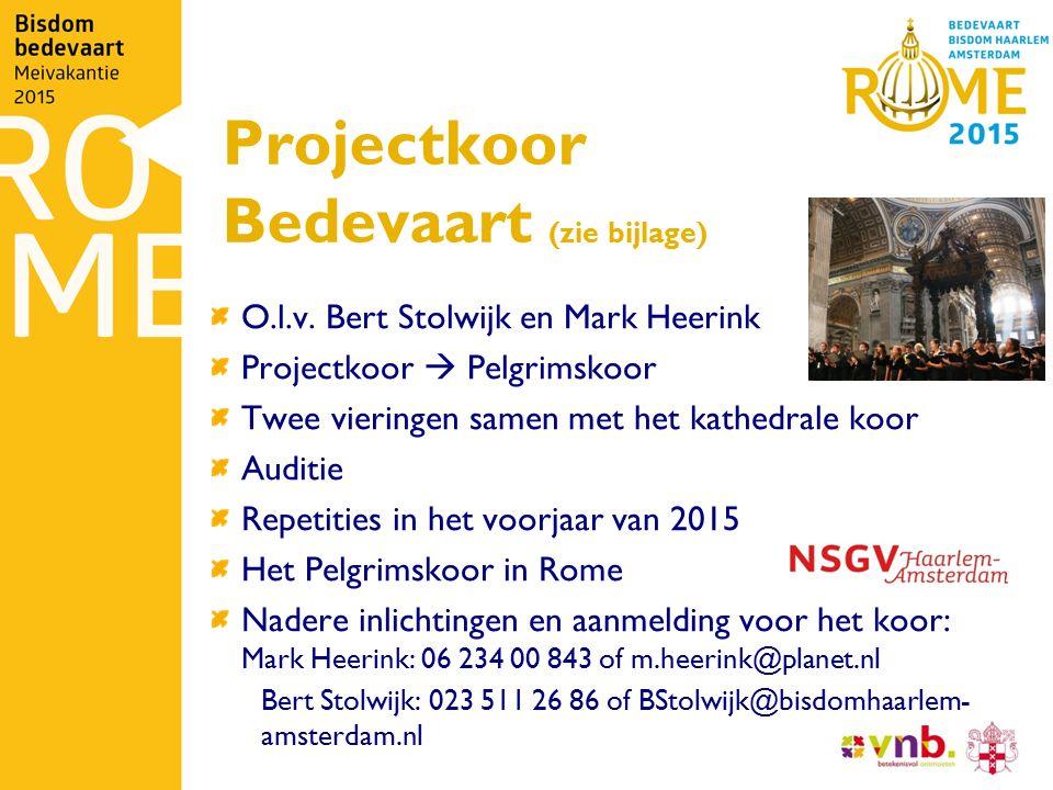 Projectkoor Bedevaart (zie bijlage) O.l.v. Bert Stolwijk en Mark Heerink Projectkoor  Pelgrimskoor Twee vieringen samen met het kathedrale koor Audit