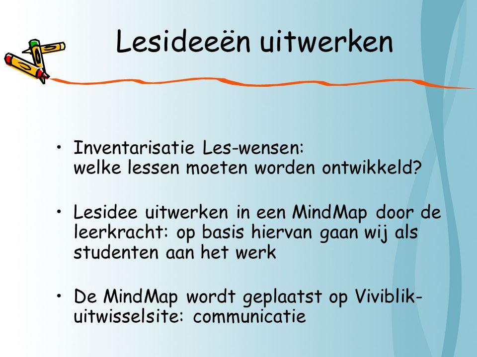 Lesideeën uitwerken Inventarisatie Les-wensen: welke lessen moeten worden ontwikkeld.