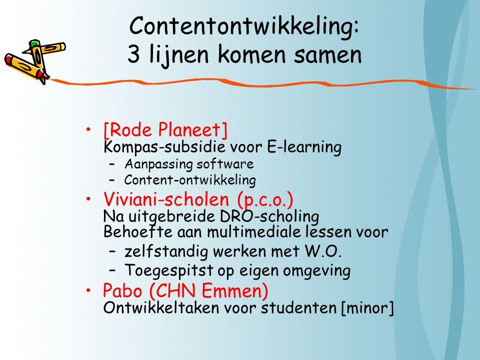 Contentontwikkeling: 3 lijnen komen samen [Rode Planeet] Kompas-subsidie voor E-learning –Aanpassing software –Content-ontwikkeling Viviani-scholen (p.c.o.) Na uitgebreide DRO-scholing Behoefte aan multimediale lessen voor –zelfstandig werken met W.O.