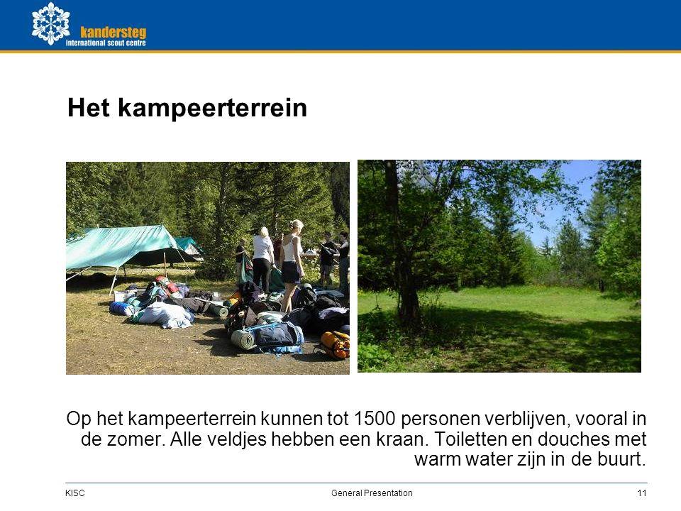 KISC General Presentation11 Het kampeerterrein Op het kampeerterrein kunnen tot 1500 personen verblijven, vooral in de zomer.