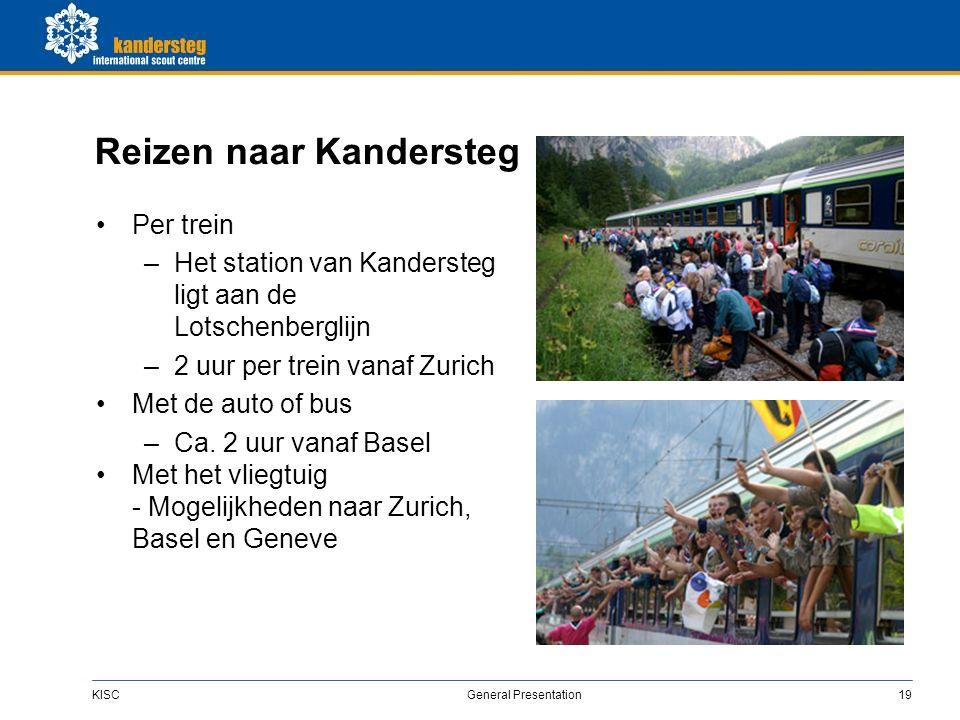 KISC General Presentation19 Reizen naar Kandersteg Per trein –Het station van Kandersteg ligt aan de Lotschenberglijn –2 uur per trein vanaf Zurich Met de auto of bus –Ca.