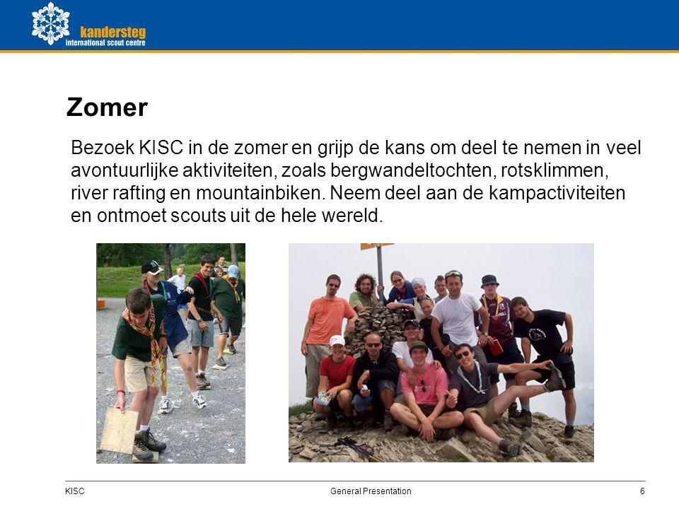 KISC General Presentation6 Zomer Bezoek KISC in de zomer en grijp de kans om deel te nemen in veel avontuurlijke aktiviteiten, zoals bergwandeltochten, rotsklimmen, river rafting en mountainbiken.