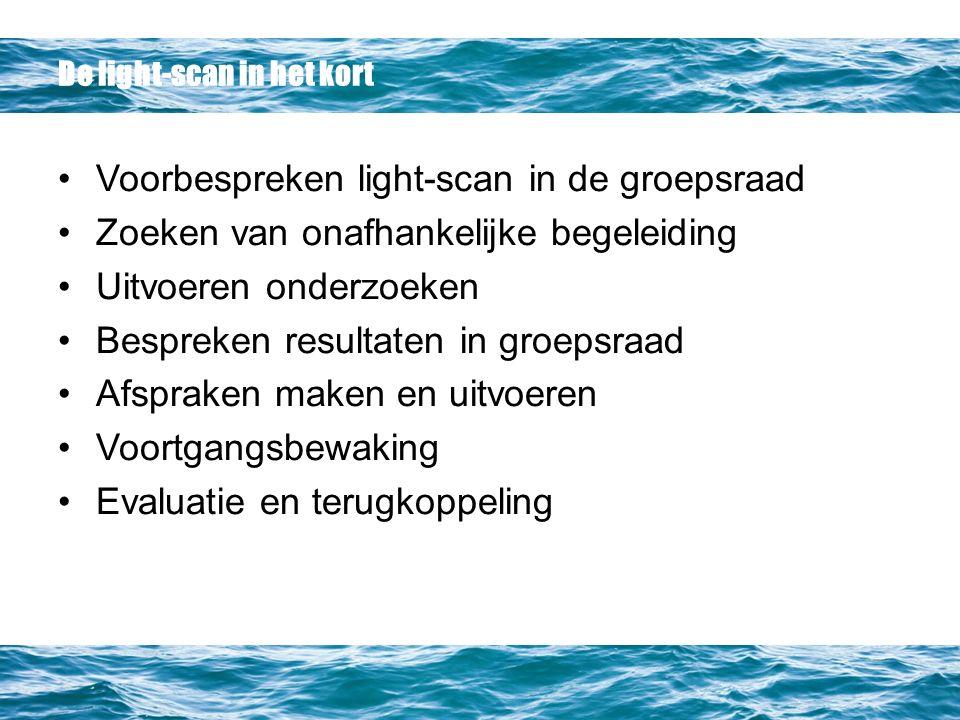 De light-scan in het kort Voorbespreken light-scan in de groepsraad Zoeken van onafhankelijke begeleiding Uitvoeren onderzoeken Bespreken resultaten in groepsraad Afspraken maken en uitvoeren Voortgangsbewaking Evaluatie en terugkoppeling