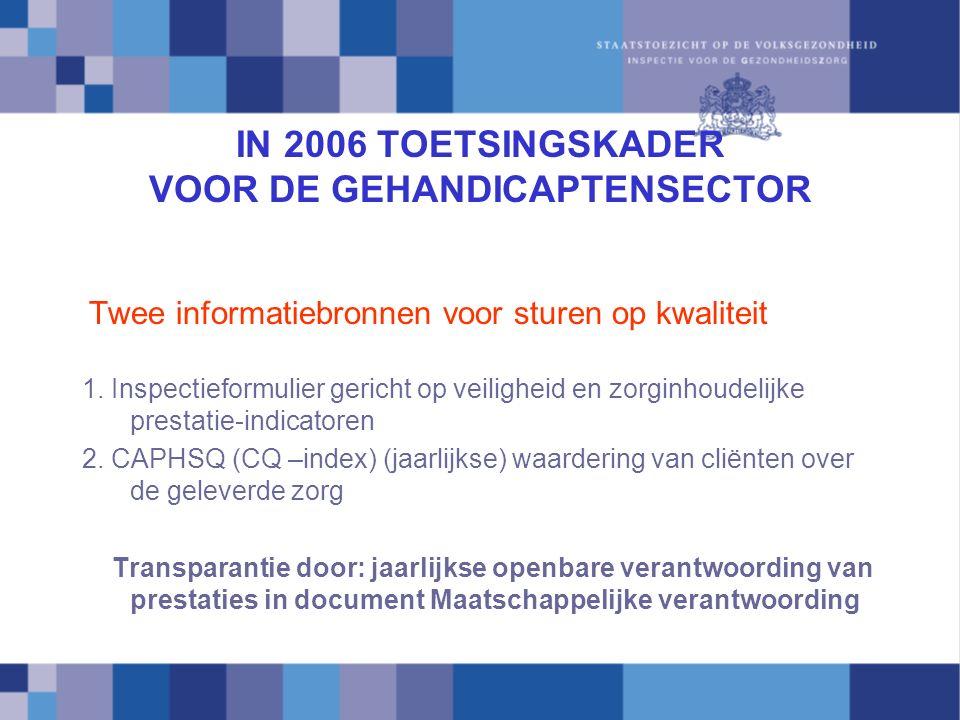 IN 2006 TOETSINGSKADER VOOR DE GEHANDICAPTENSECTOR Twee informatiebronnen voor sturen op kwaliteit 1.