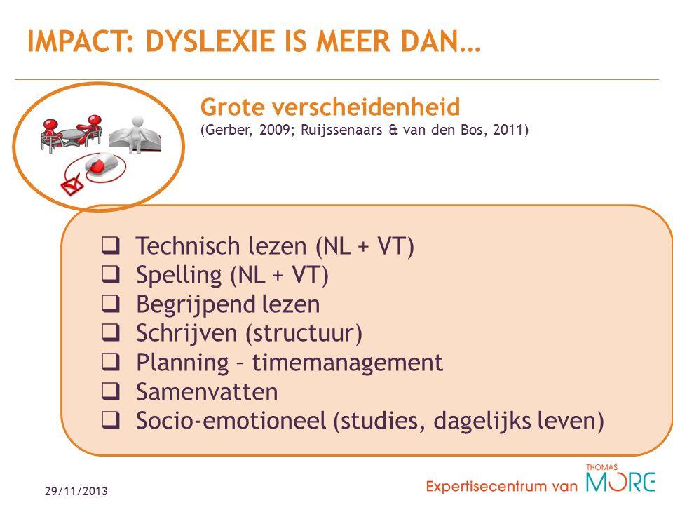 IMPACT: DYSLEXIE IS MEER DAN… 29/11/2013  Technisch lezen (NL + VT)  Spelling (NL + VT)  Begrijpend lezen  Schrijven (structuur)  Planning – timemanagement  Samenvatten  Socio-emotioneel (studies, dagelijks leven) Grote verscheidenheid (Gerber, 2009; Ruijssenaars & van den Bos, 2011)