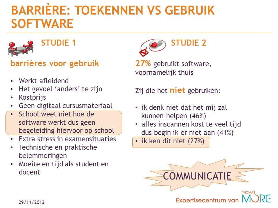 BARRIÈRE: TOEKENNEN VS GEBRUIK SOFTWARE STUDIE 2 27% gebruikt software, voornamelijk thuis Zij die het niet gebruiken: ik denk niet dat het mij zal kunnen helpen (46%) alles inscannen kost te veel tijd dus begin ik er niet aan (41%) ik ken dit niet (27%) STUDIE 1 barrières voor gebruik Werkt afleidend Het gevoel 'anders' te zijn Kostprijs Geen digitaal cursusmateriaal School weet niet hoe de software werkt dus geen begeleiding hiervoor op school Extra stress in examensituaties Technische en praktische belemmeringen Moeite en tijd als student en docent COMMUNICATIE