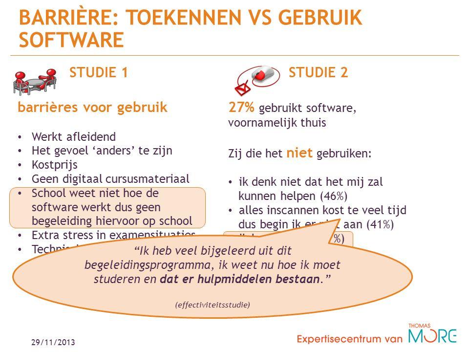 29/11/2013 BARRIÈRE: TOEKENNEN VS GEBRUIK SOFTWARE STUDIE 2 27% gebruikt software, voornamelijk thuis Zij die het niet gebruiken: ik denk niet dat het mij zal kunnen helpen (46%) alles inscannen kost te veel tijd dus begin ik er niet aan (41%) ik ken dit niet (27%) STUDIE 1 barrières voor gebruik Werkt afleidend Het gevoel 'anders' te zijn Kostprijs Geen digitaal cursusmateriaal School weet niet hoe de software werkt dus geen begeleiding hiervoor op school Extra stress in examensituaties Technische en praktische belemmeringen Moeite en tijd als student en docent Ik heb veel bijgeleerd uit dit begeleidingsprogramma, ik weet nu hoe ik moet studeren en dat er hulpmiddelen bestaan. (effectiviteitsstudie)