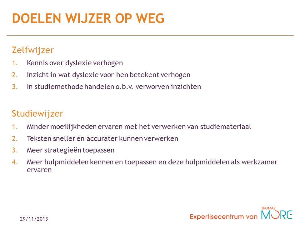 29/11/2013 Zelfwijzer 1.Kennis over dyslexie verhogen 2.Inzicht in wat dyslexie voor hen betekent verhogen 3.In studiemethode handelen o.b.v.