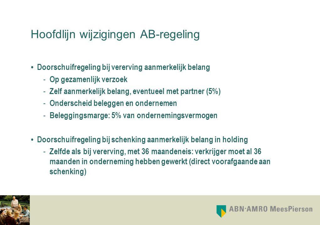Hoofdlijn wijzigingen AB-regeling Doorschuifregeling bij vererving aanmerkelijk belang - Op gezamenlijk verzoek - Zelf aanmerkelijk belang, eventueel