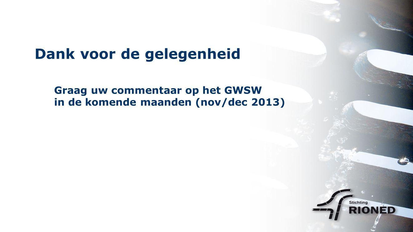 Dank voor de gelegenheid Graag uw commentaar op het GWSW in de komende maanden (nov/dec 2013)