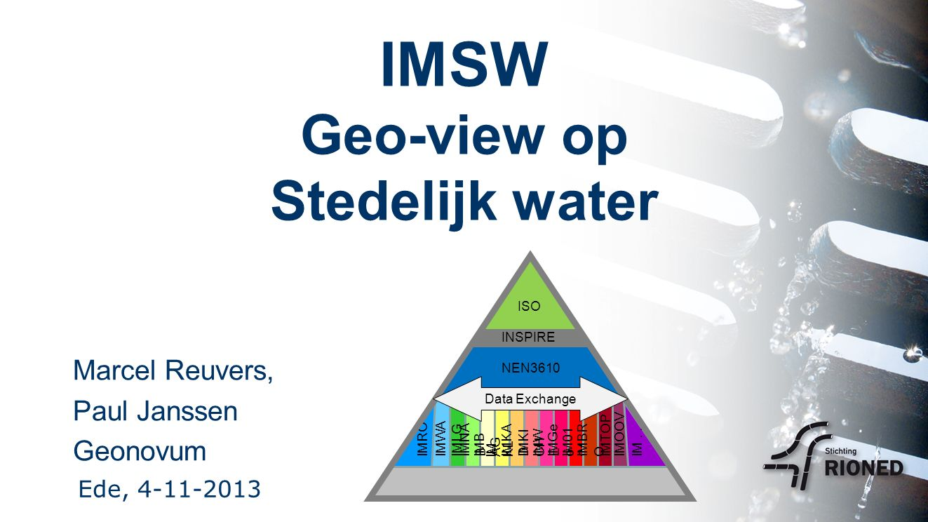 IMSW Geo-view op Stedelijk water Marcel Reuvers, Paul Janssen Geonovum Ede, 4-11-2013 NEN3610 IMB AG IM KL IMKA D IMNA B IMLGIMWAIMROIMKI CH IMW E IMGe o IM01 01 IMBR O IMTOPIMOOVIM...