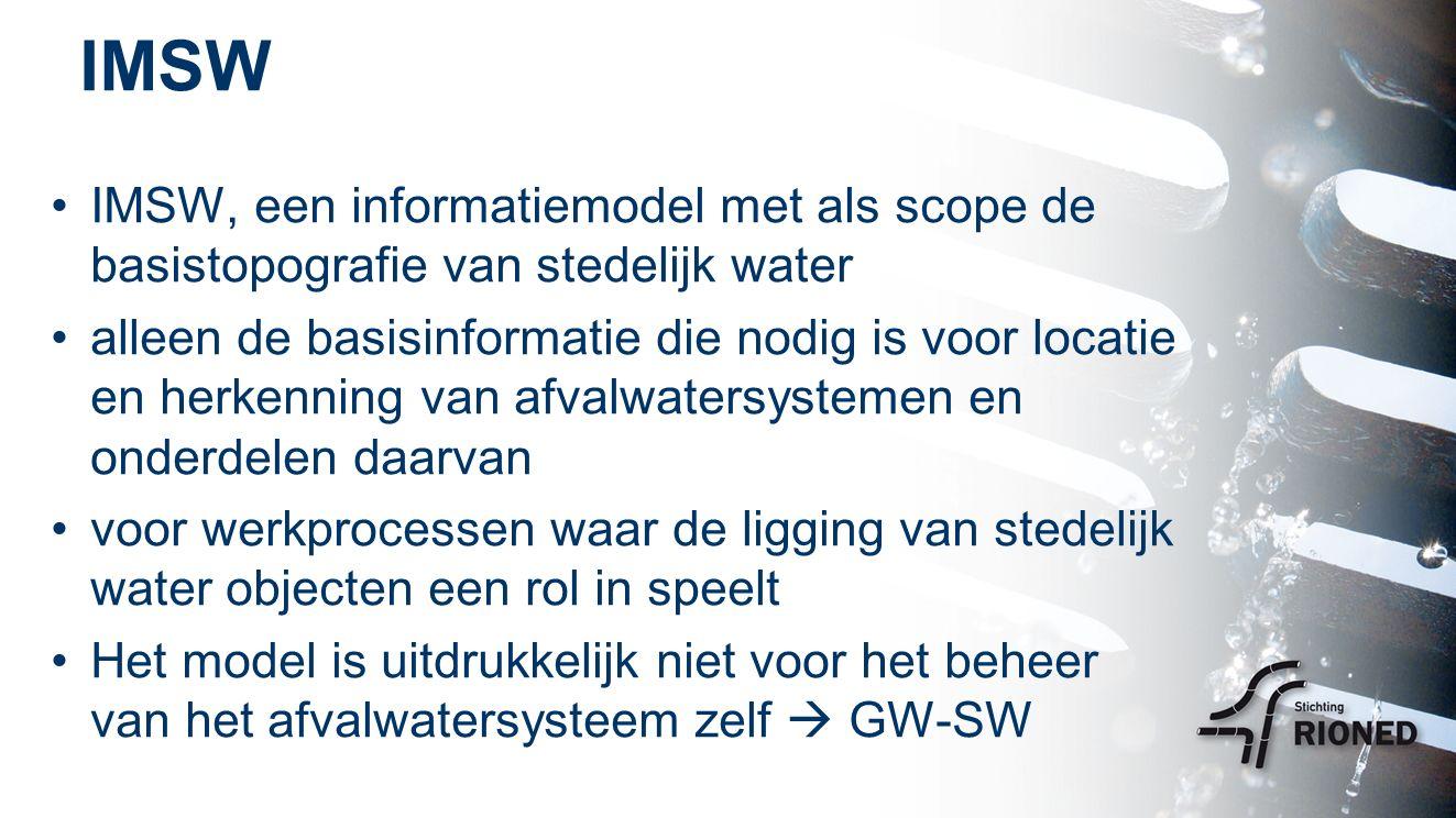 IMSW IMSW, een informatiemodel met als scope de basistopografie van stedelijk water alleen de basisinformatie die nodig is voor locatie en herkenning van afvalwatersystemen en onderdelen daarvan voor werkprocessen waar de ligging van stedelijk water objecten een rol in speelt Het model is uitdrukkelijk niet voor het beheer van het afvalwatersysteem zelf  GW-SW
