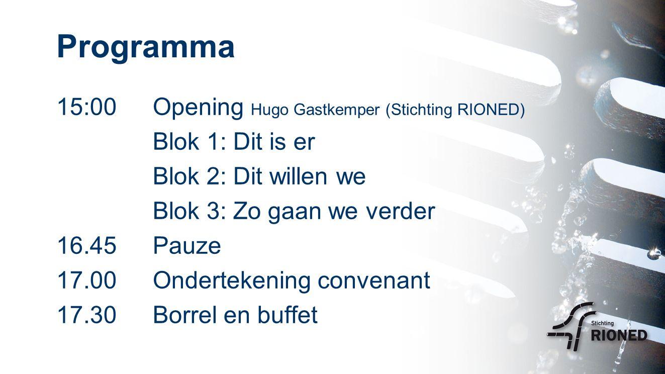 15:00Opening Hugo Gastkemper (Stichting RIONED) Blok 1: Dit is er Blok 2: Dit willen we Blok 3: Zo gaan we verder 16.45Pauze 17.00 Ondertekening convenant 17.30Borrel en buffet Programma