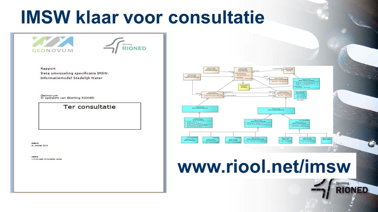IMSW klaar voor consultatie www.riool.net/imsw