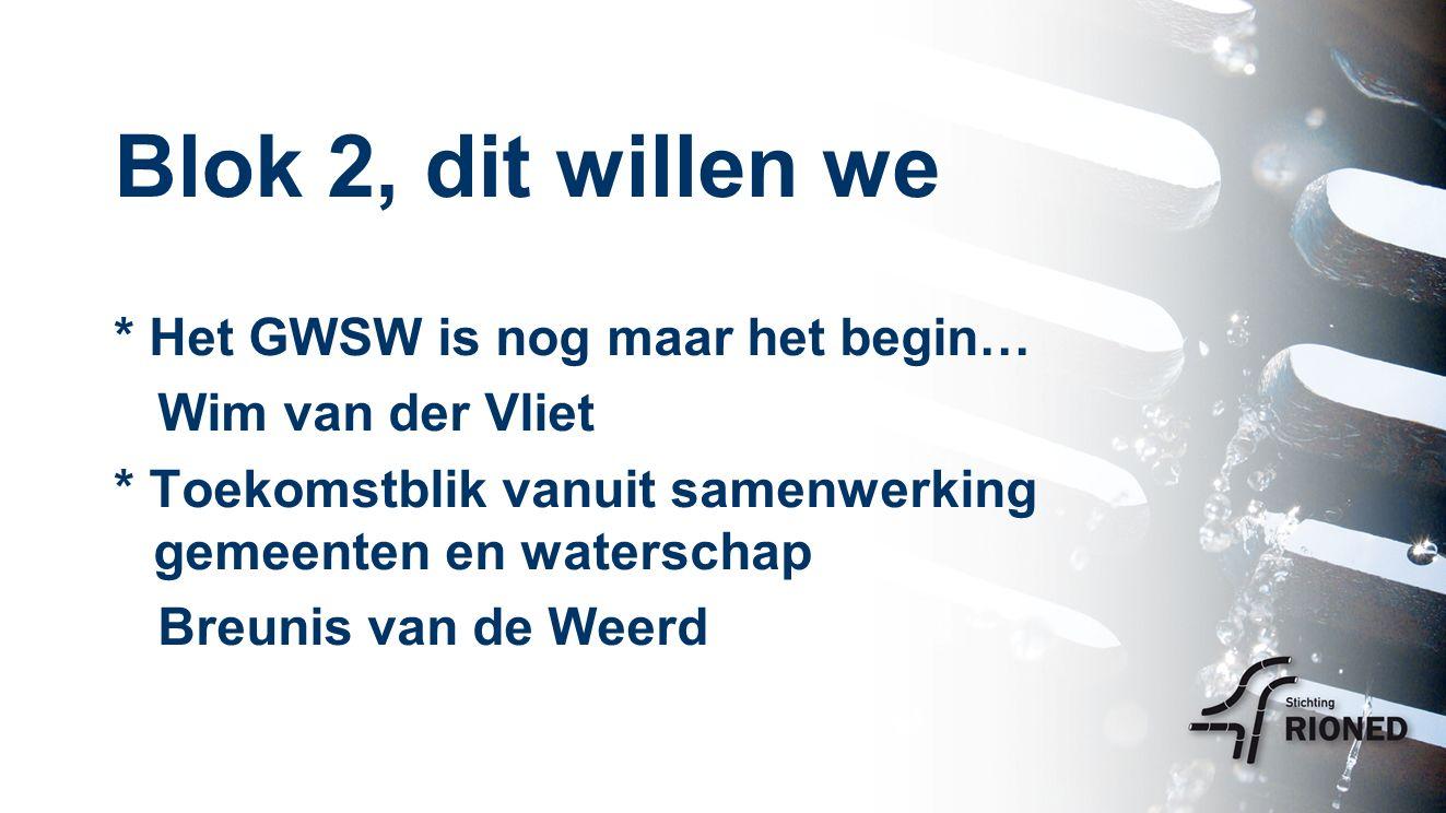 Blok 2, dit willen we * Het GWSW is nog maar het begin… Wim van der Vliet * Toekomstblik vanuit samenwerking gemeenten en waterschap Breunis van de Weerd