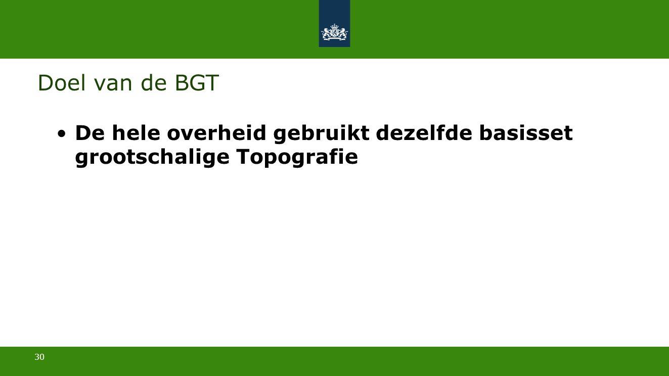 30 Doel van de BGT De hele overheid gebruikt dezelfde basisset grootschalige Topografie