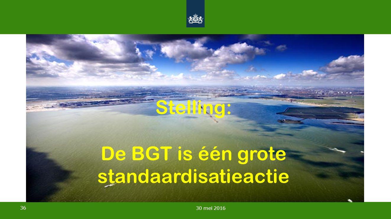 36 30 mei 2016 Stelling: De BGT is één grote standaardisatieactie