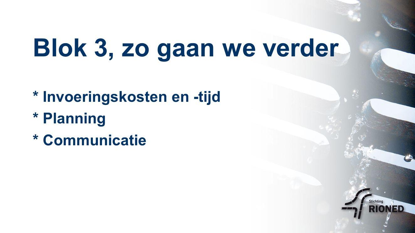Blok 3, zo gaan we verder * Invoeringskosten en -tijd * Planning * Communicatie