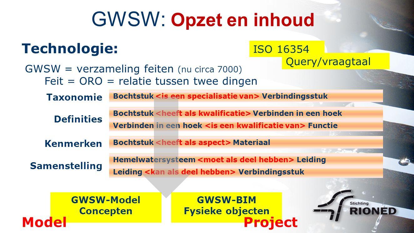 GWSW: Opzet en inhoud Technologie: ISO 16354 GWSW = verzameling feiten (nu circa 7000) Feit = ORO = relatie tussen twee dingen Definities Kenmerken Samenstelling Query/vraagtaal Taxonomie Bochtstuk Verbindingsstuk Bochtstuk Verbinden in een hoek Verbinden in een hoek Functie Bochtstuk Materiaal Hemelwatersysteem Leiding Leiding Verbindingsstuk GWSW-Model Concepten GWSW-BIM Fysieke objecten ModelProject