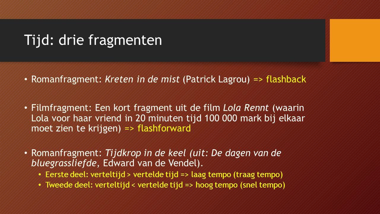 Tijd: drie fragmenten Romanfragment: Kreten in de mist (Patrick Lagrou) => flashback Filmfragment: Een kort fragment uit de film Lola Rennt (waarin Lo