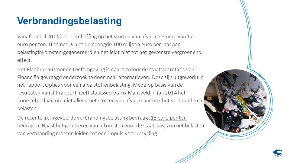 Verbrandingsbelasting Vanaf 1 april 2014 is er een heffing op het storten van afval ingevoerd van 17 euro per ton.