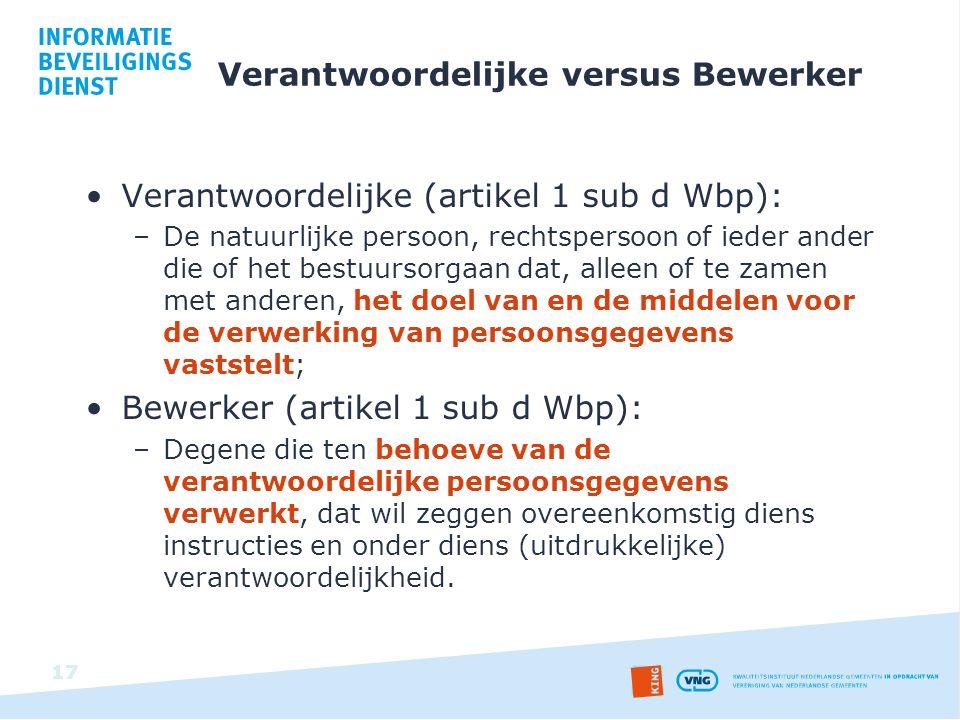 Verantwoordelijke versus Bewerker Verantwoordelijke (artikel 1 sub d Wbp): –De natuurlijke persoon, rechtspersoon of ieder ander die of het bestuursor