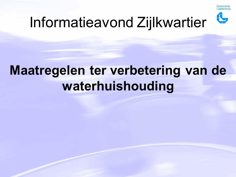 Informatieavond Zijlkwartier Maatregelen ter verbetering van de waterhuishouding