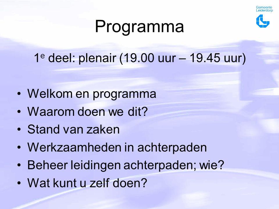 Programma 1 e deel: plenair (19.00 uur – 19.45 uur) Welkom en programma Waarom doen we dit.