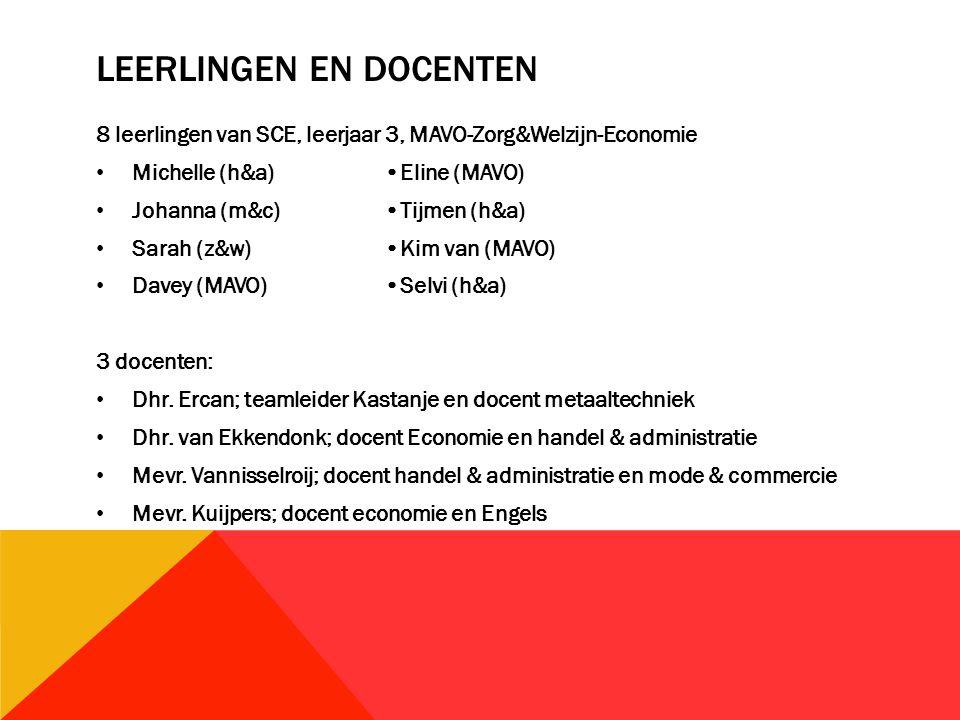 LEERLINGEN EN DOCENTEN 8 leerlingen van SCE, leerjaar 3, MAVO-Zorg&Welzijn-Economie Michelle (h&a)Eline (MAVO) Johanna (m&c)Tijmen (h&a) Sarah (z&w)Kim van (MAVO) Davey (MAVO)Selvi (h&a) 3 docenten: Dhr.