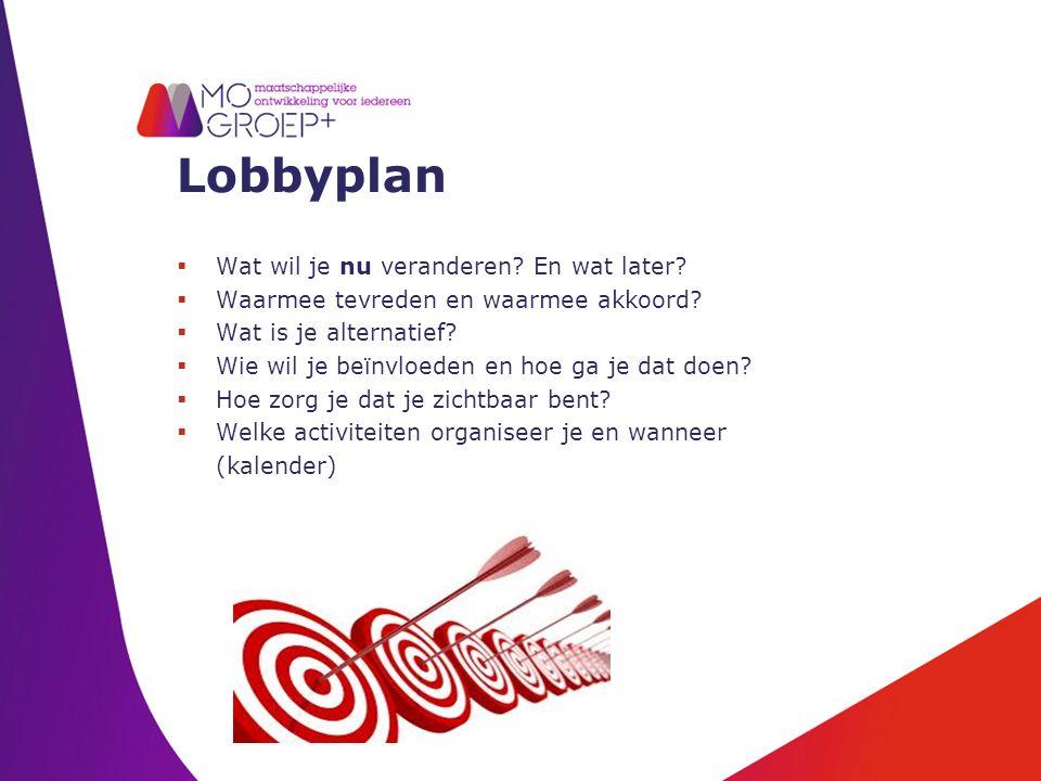 Lobbyplan  Wat wil je nu veranderen.En wat later.