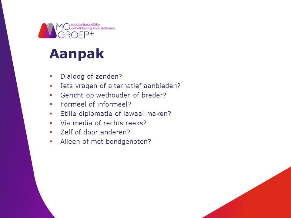 Aanpak  Dialoog of zenden.  Iets vragen of alternatief aanbieden.
